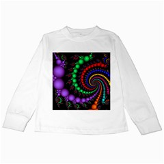 Fractal Background With High Quality Spiral Of Balls On Black Kids Long Sleeve T-Shirts