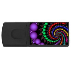 Fractal Background With High Quality Spiral Of Balls On Black Usb Flash Drive Rectangular (4 Gb)