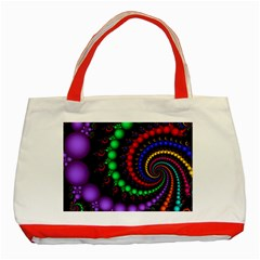 Fractal Background With High Quality Spiral Of Balls On Black Classic Tote Bag (Red)