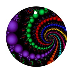 Fractal Background With High Quality Spiral Of Balls On Black Round Ornament (two Sides)