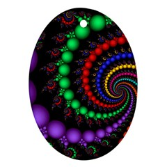 Fractal Background With High Quality Spiral Of Balls On Black Oval Ornament (two Sides)