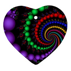 Fractal Background With High Quality Spiral Of Balls On Black Heart Ornament (two Sides)