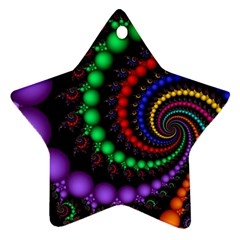 Fractal Background With High Quality Spiral Of Balls On Black Star Ornament (two Sides)