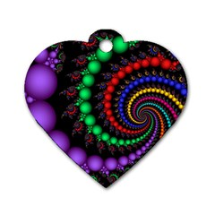 Fractal Background With High Quality Spiral Of Balls On Black Dog Tag Heart (two Sides)