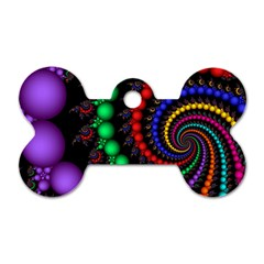 Fractal Background With High Quality Spiral Of Balls On Black Dog Tag Bone (two Sides)