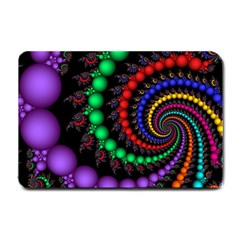 Fractal Background With High Quality Spiral Of Balls On Black Small Doormat