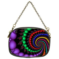 Fractal Background With High Quality Spiral Of Balls On Black Chain Purses (one Side)