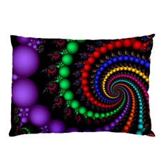 Fractal Background With High Quality Spiral Of Balls On Black Pillow Case