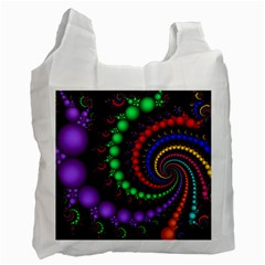 Fractal Background With High Quality Spiral Of Balls On Black Recycle Bag (two Side)