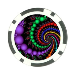 Fractal Background With High Quality Spiral Of Balls On Black Poker Chip Card Guard (10 Pack)