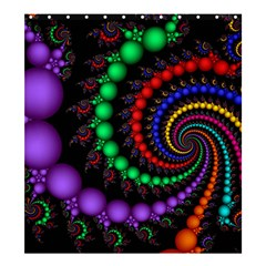 Fractal Background With High Quality Spiral Of Balls On Black Shower Curtain 66  X 72  (large)