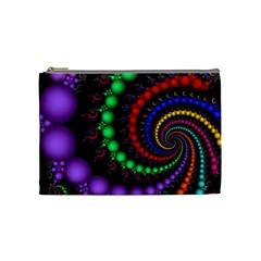 Fractal Background With High Quality Spiral Of Balls On Black Cosmetic Bag (medium)