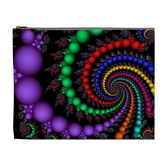 Fractal Background With High Quality Spiral Of Balls On Black Cosmetic Bag (xl)