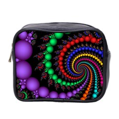 Fractal Background With High Quality Spiral Of Balls On Black Mini Toiletries Bag 2 Side