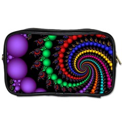 Fractal Background With High Quality Spiral Of Balls On Black Toiletries Bags 2-Side