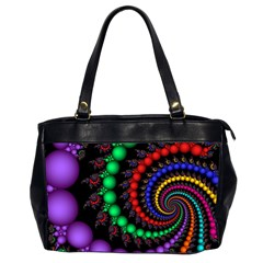 Fractal Background With High Quality Spiral Of Balls On Black Office Handbags (2 Sides)
