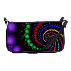 Fractal Background With High Quality Spiral Of Balls On Black Shoulder Clutch Bags