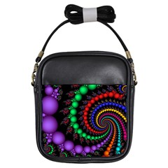 Fractal Background With High Quality Spiral Of Balls On Black Girls Sling Bags