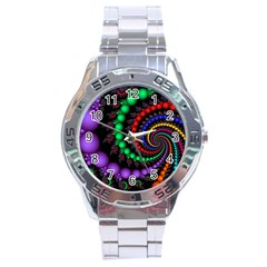 Fractal Background With High Quality Spiral Of Balls On Black Stainless Steel Analogue Watch