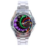 Fractal Background With High Quality Spiral Of Balls On Black Stainless Steel Analogue Watch Front