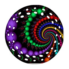 Fractal Background With High Quality Spiral Of Balls On Black Round Filigree Ornament (two Sides)