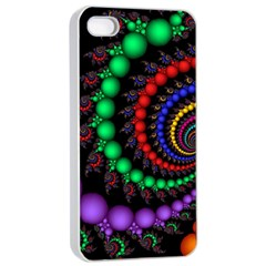 Fractal Background With High Quality Spiral Of Balls On Black Apple iPhone 4/4s Seamless Case (White)