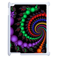 Fractal Background With High Quality Spiral Of Balls On Black Apple Ipad 2 Case (white)