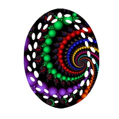 Fractal Background With High Quality Spiral Of Balls On Black Oval Filigree Ornament (Two Sides)