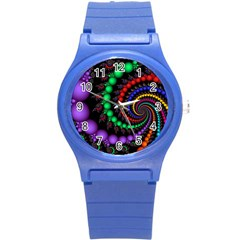 Fractal Background With High Quality Spiral Of Balls On Black Round Plastic Sport Watch (s)