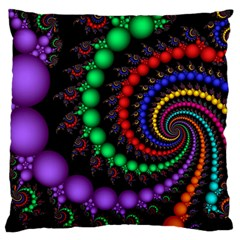 Fractal Background With High Quality Spiral Of Balls On Black Large Cushion Case (One Side)