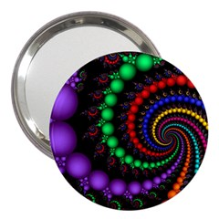 Fractal Background With High Quality Spiral Of Balls On Black 3  Handbag Mirrors