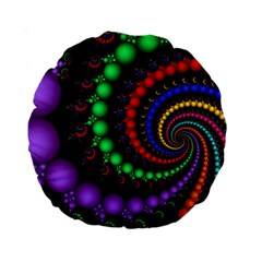 Fractal Background With High Quality Spiral Of Balls On Black Standard 15  Premium Round Cushions