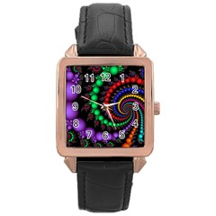 Fractal Background With High Quality Spiral Of Balls On Black Rose Gold Leather Watch