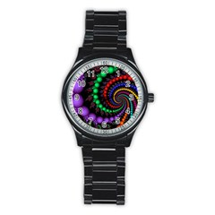Fractal Background With High Quality Spiral Of Balls On Black Stainless Steel Round Watch