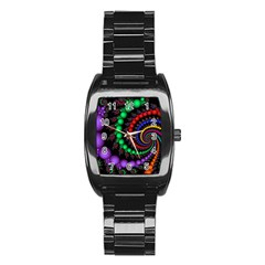 Fractal Background With High Quality Spiral Of Balls On Black Stainless Steel Barrel Watch