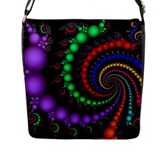Fractal Background With High Quality Spiral Of Balls On Black Flap Messenger Bag (l)