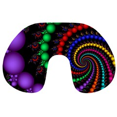 Fractal Background With High Quality Spiral Of Balls On Black Travel Neck Pillows