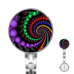 Fractal Background With High Quality Spiral Of Balls On Black Stainless Steel Nurses Watch