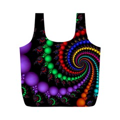 Fractal Background With High Quality Spiral Of Balls On Black Full Print Recycle Bags (m)
