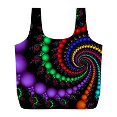 Fractal Background With High Quality Spiral Of Balls On Black Full Print Recycle Bags (l)