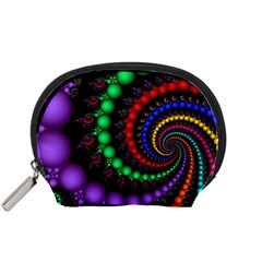 Fractal Background With High Quality Spiral Of Balls On Black Accessory Pouches (small)