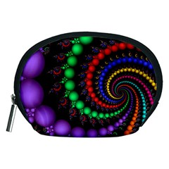 Fractal Background With High Quality Spiral Of Balls On Black Accessory Pouches (medium)