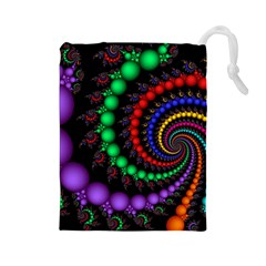 Fractal Background With High Quality Spiral Of Balls On Black Drawstring Pouches (Large)