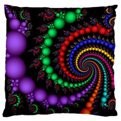 Fractal Background With High Quality Spiral Of Balls On Black Large Flano Cushion Case (one Side)