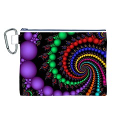 Fractal Background With High Quality Spiral Of Balls On Black Canvas Cosmetic Bag (L)