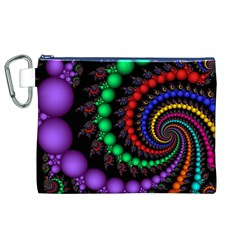 Fractal Background With High Quality Spiral Of Balls On Black Canvas Cosmetic Bag (xl)