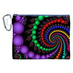 Fractal Background With High Quality Spiral Of Balls On Black Canvas Cosmetic Bag (xxl)