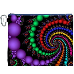 Fractal Background With High Quality Spiral Of Balls On Black Canvas Cosmetic Bag (xxxl)