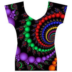 Fractal Background With High Quality Spiral Of Balls On Black Women s V-Neck Cap Sleeve Top