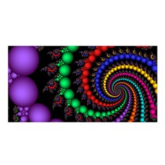 Fractal Background With High Quality Spiral Of Balls On Black Satin Shawl